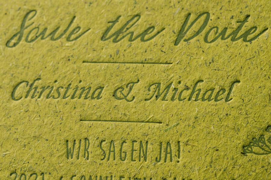 Hochzeitskarten Christina und Michael 2020 Gmund BioCycle chlorophyl